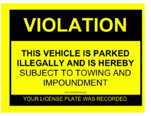 Parking Violation Sign
