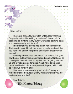 Letters From The Easter Bunny, Crafts, And Coloring Pages