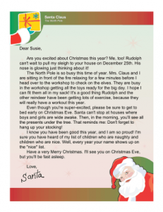 Sample Letter From Santa To Child Template