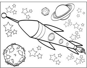 Sapce Ship Staurn Coloring Pages