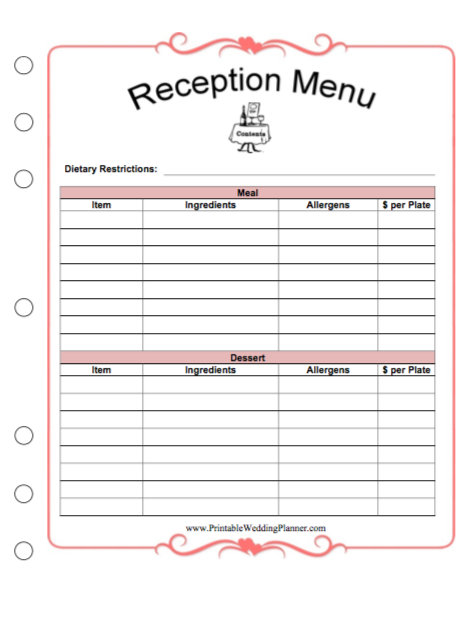 Printable Wedding Planner Free Printables