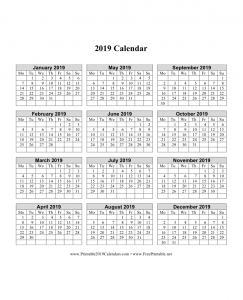 printable2019calendarscom has calendars for each month of the year the entire year at once in 12 pages year on one page designs and more