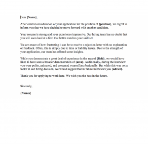 Rejection Letter Templates At New Website Free Printables