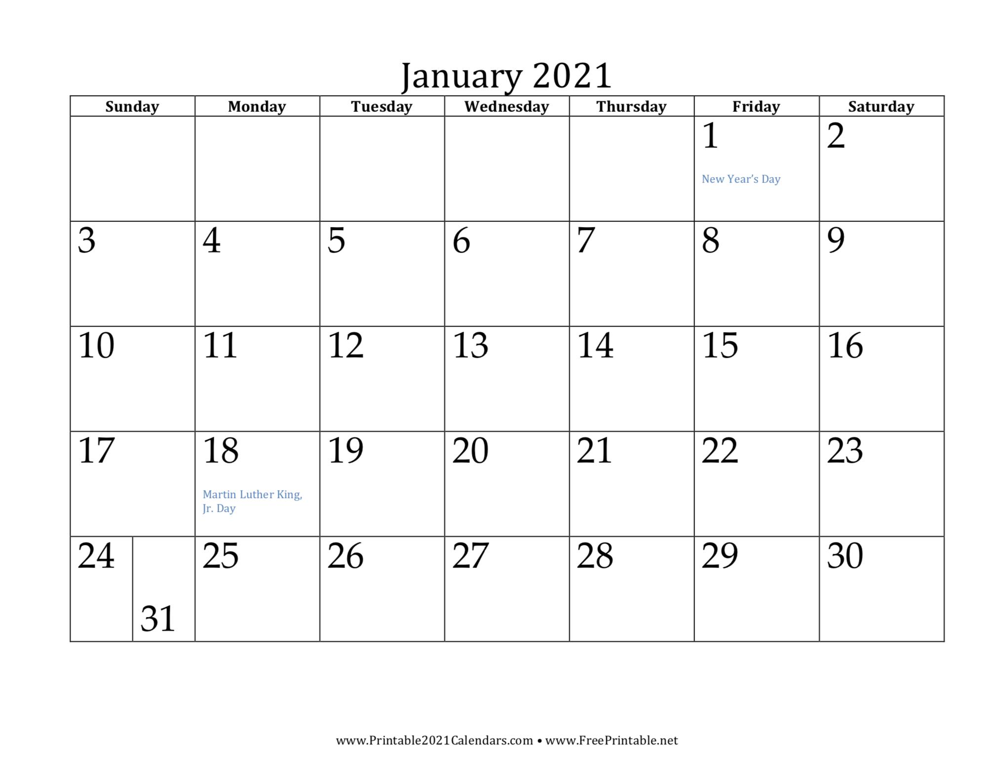 Free Printable 2021 Calendars Free Printables